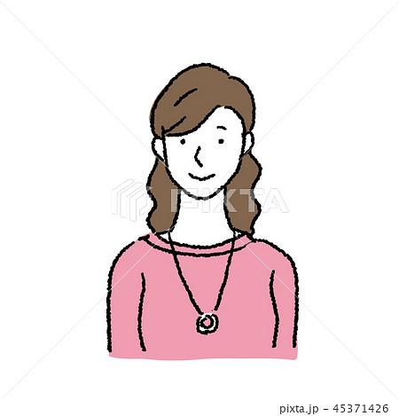 20代 女性 人物 上半身 イラスト 45371426