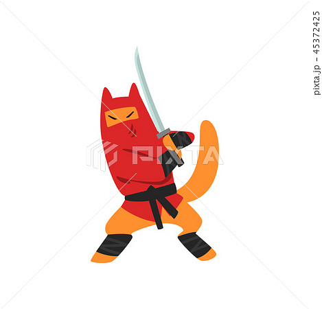 Ninja dog character fighting with a katana sword vector Illustration on a white background 45372425