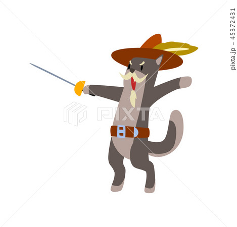 Warlike musketeer cat character fighting with sword vector Illustration on a white background 45372431