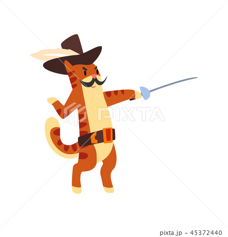 Musketeer cat character fighting with sword vector Illustration on a white background 45372440