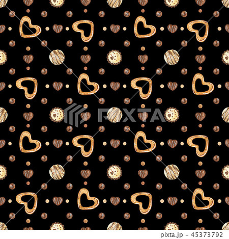 Sweet Valentine pattern with chocolate and cookie 45373792