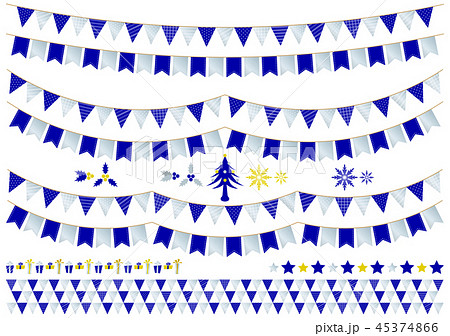 ガーランド クリスマス_blue3 45374866