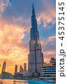 Burj Khalifa Skyscraper at Sunset 45375145