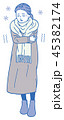 風邪 体調不良 女性のイラスト 45382174