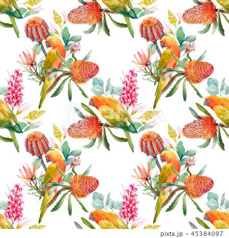 Watercolor tropical parrots pattern 45384097