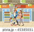 ショッピング スーパーマーケット カートのイラスト 45385031