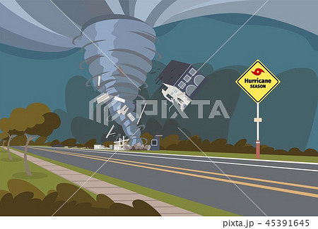 Vector illustration of a destructive hurricane 45391645