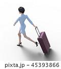 旅行に出かける若い女性 permi g3DCG イラスト素材 45393866