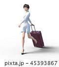 旅行に出かける若い女性 permi g3DCG イラスト素材 45393867