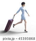 旅行に出かける若い女性 permi g3DCG イラスト素材 45393868