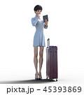 旅行に出かける若い女性 permi g3DCG イラスト素材 45393869