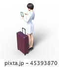 旅行に出かける若い女性 permi g3DCG イラスト素材 45393870