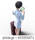 旅行に出かける若い女性 permi g3DCG イラスト素材 45393871