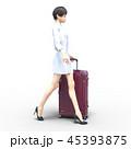 旅行に出かける若い女性 permi g3DCG イラスト素材 45393875