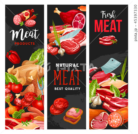 Butcher shop meat, butchery products, vector 45397330