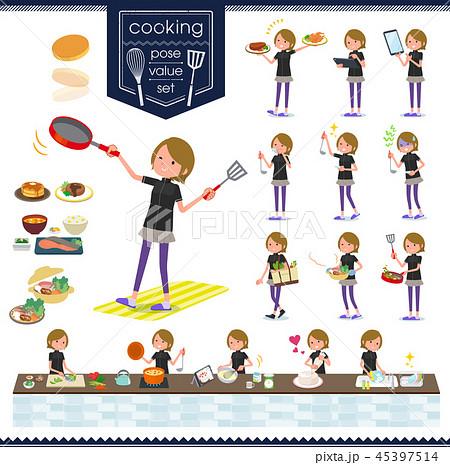 flat type Short hair women Sportswear_cooking 45397514