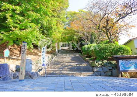 秋の晴天、青空と唐津城(入口の階段) 45398684