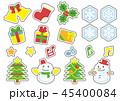 クリスマスのオブジェクト(線無し白縁取りの黒縁取り) 45400084