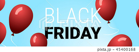 black friday special offer big sale poster red air balloons over blue background holiday discount 45400168