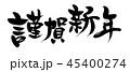 謹賀新年 筆文字 文字のイラスト 45400274