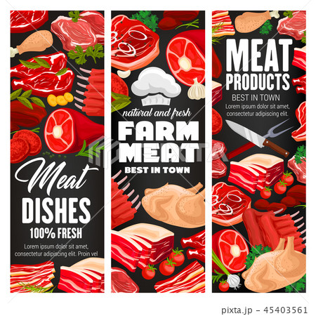 Butcher shop, farm meat vector products 45403561
