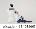 Humanoid autonomous robot with stylish man in a suit. Modern Robotic Technologies. Humanoid 45403995