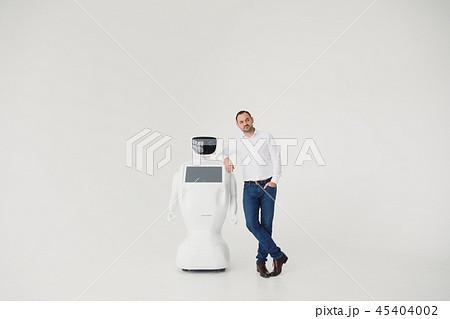 Humanoid autonomous robot with stylish man in a suit. Modern Robotic Technologies. Humanoid 45404002
