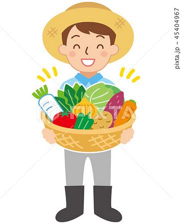 農家と野菜かご 45404967