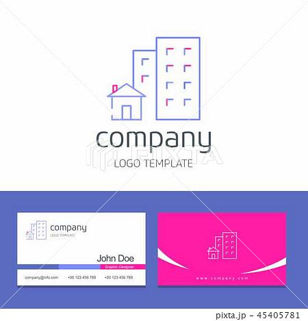 Business card design buildings company logo vector 45405781