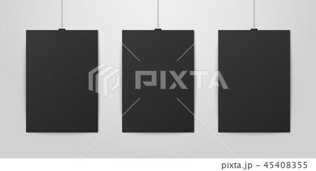 Three Vector Realistic Black Blank Vertical A4 Paper Poster Hanging on a Rope with Binder Clip Set 45408355