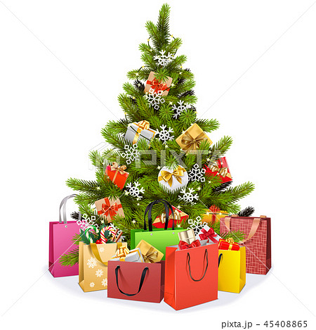 Vector Christmas Tree with Shopping Bags 45408865