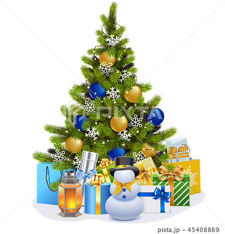 Vector Christmas Fir Tree with Blue Decorations 45408869