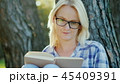 Young woman in glasses reads a book in the park. Sits near a tree, beautiful light before sunset 45409391