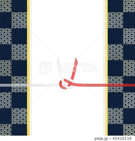 和紙-和-和風-和柄-市松模様-紅白-のし紙-水引 45410116