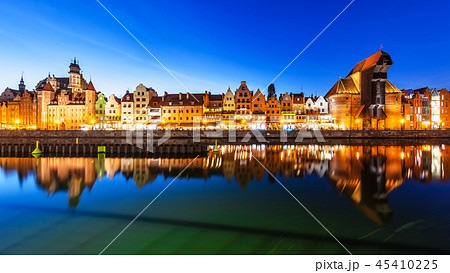 Night panorama of the Old Town of Gdansk, Poland 45410225