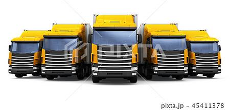 Row of cargo trucks isolated on white background 45411378