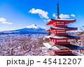 富士山 忠霊塔 冬の写真 45412207