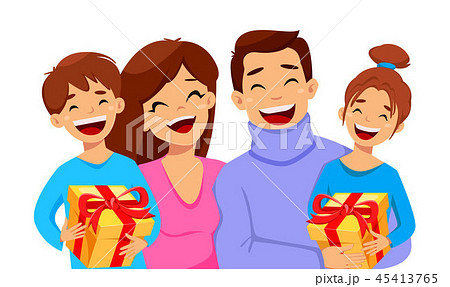 Merry Christmas greeting card with happy family 45413765