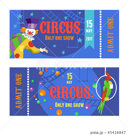 Circus ticket with clown and parrot vector set 45416847