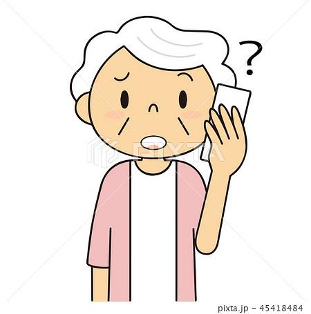 45418484 二頭身 シニア 女性 電話するおばあちゃん 困る 耳が聞こえにくい