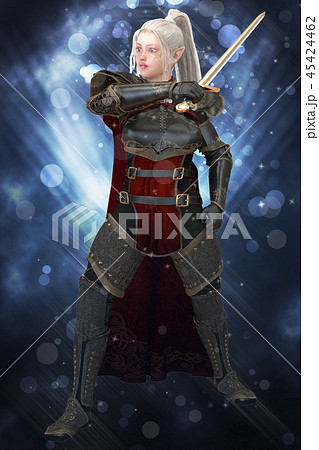 Woman elf warrior with sword on fantasy abstract background 3D illustration 45424462
