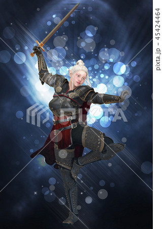 Woman elf warrior with sword on fantasy abstract background 3D illustration 45424464
