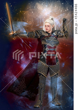 Woman elf warrior with sword on fantasy abstract background 3D illustration 45424466