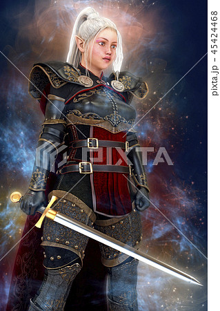 Woman elf warrior with sword on fantasy abstract background 3D illustration 45424468