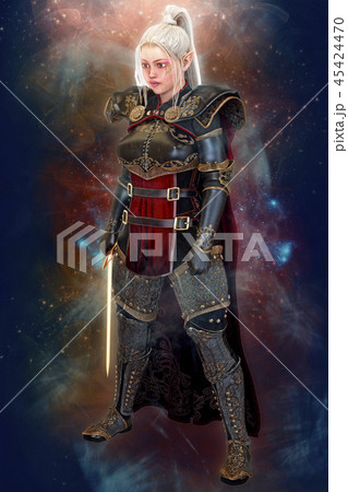 Woman elf warrior with sword on fantasy abstract background 3D illustration 45424470