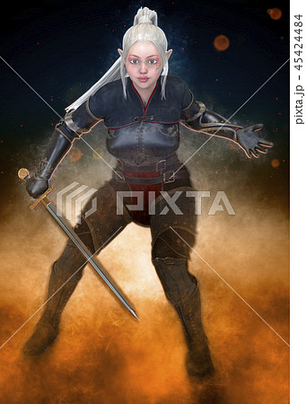 Woman elf warrior with sword on fantasy abstract background 3D illustration 45424484