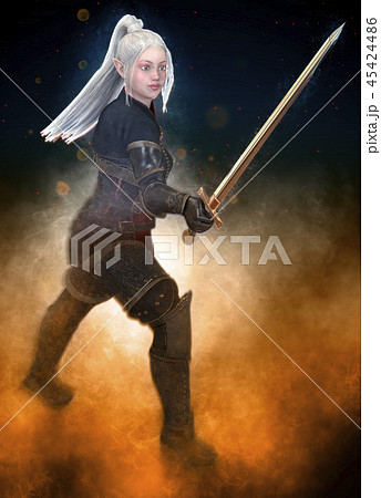Woman elf warrior with sword on fantasy abstract background 3D illustration 45424486