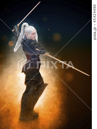 Woman elf warrior with sword on fantasy abstract background 3D illustration 45424490