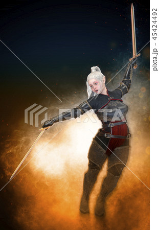Woman elf warrior with sword on fantasy abstract background 3D illustration 45424492