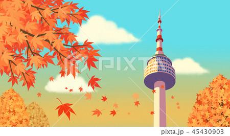 Beautiful autumn landscape colorful nature scenery vector illustration 002 45430903